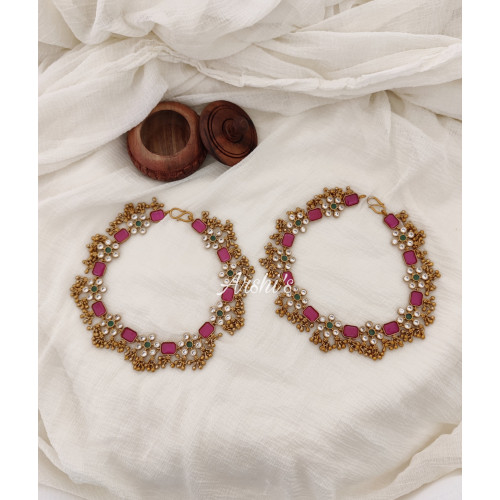 Beautiful Flower Design AD Stone Anklets