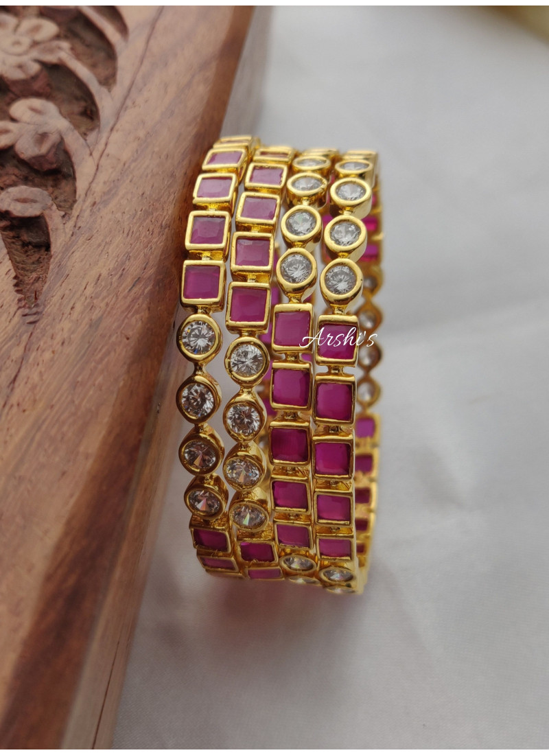 Beautiful Gold Finish AD Stone Bang..