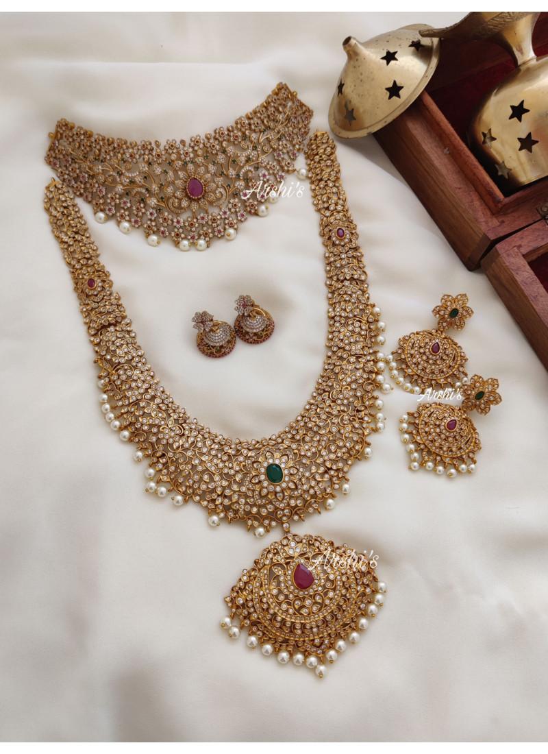 AD Stone Grand Bridal Jewellery Set