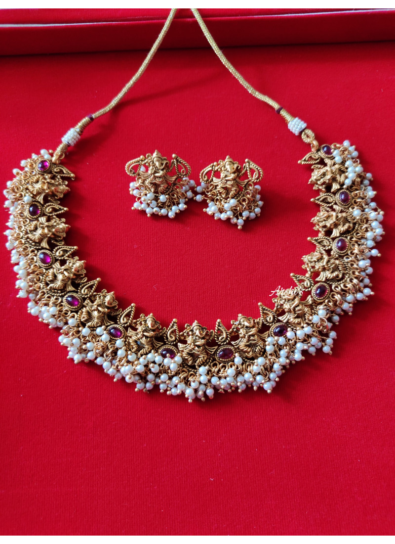 Traditional Ganesh Pearl Necklace