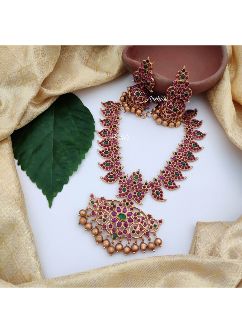 Bridal Mango Design Red and Green Kemp Necklace