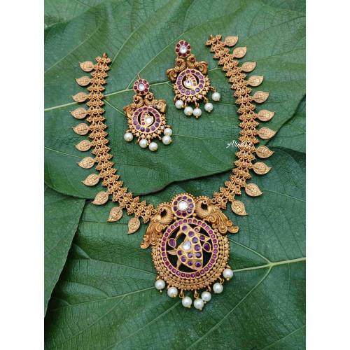 Traditional Peacock Mango Lakshmi Design Necklace
