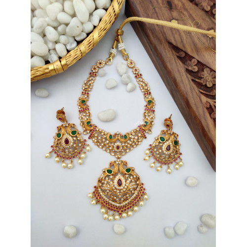 Matte Finish American Diamond Necklace