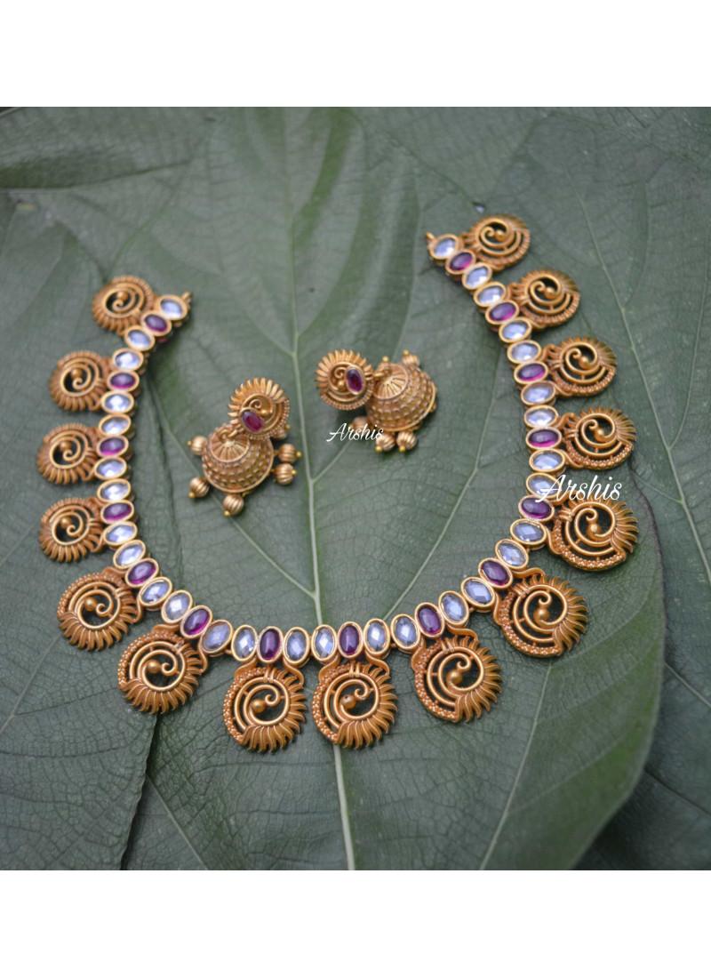 Elegant Designer Peacock AD Stone Necklace
