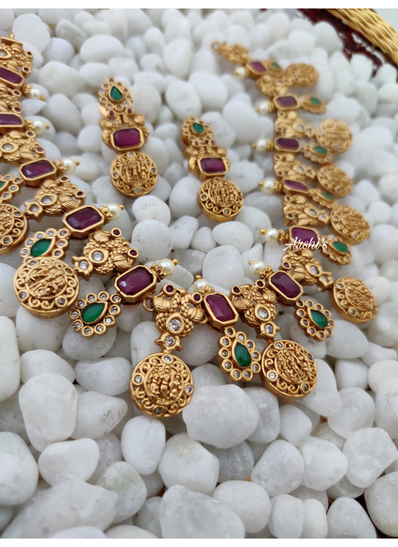 Ramparivar Ruby and Green Stone Necklace