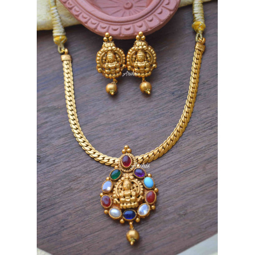 Navarathna Stone Lakshmi Pendant Necklace