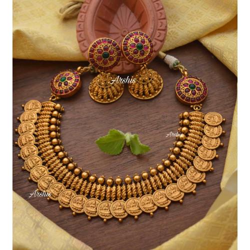 Grand Traditional Lakshmi Coin Side Mogapu Necklace