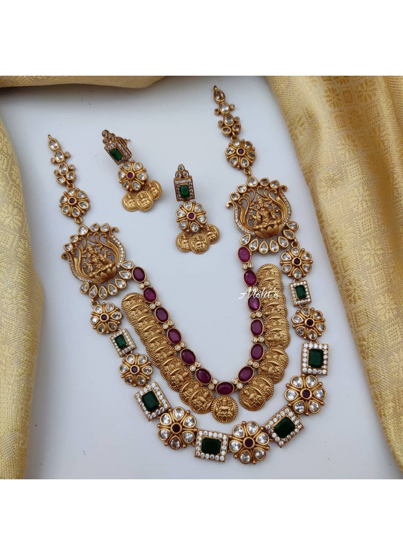 Traditional Multi Layered AD Lakshmi Coin Necklace