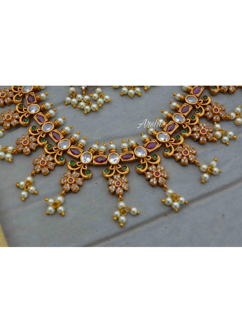 Simple Multi Stone Guttapusalu Necklace