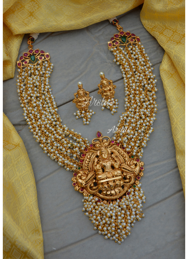Antique Lakshmi Pendant Heavy Guttapusalu Necklace