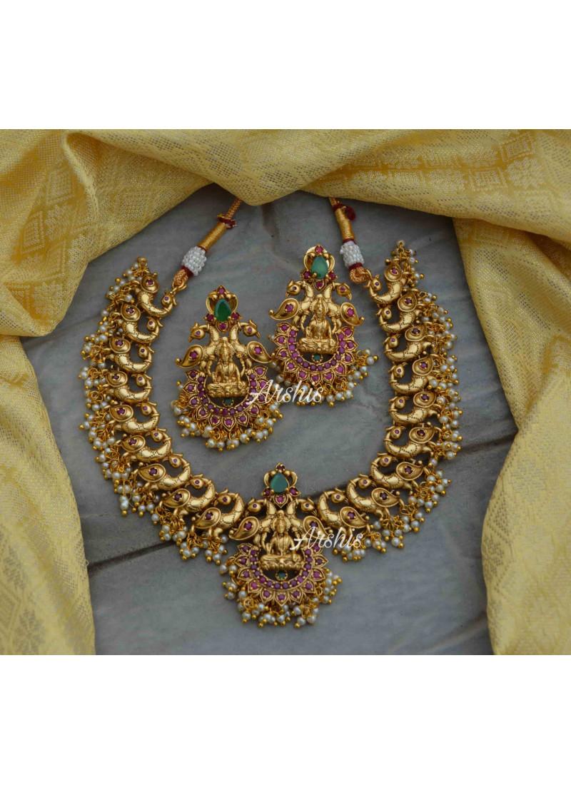 Antique Lakshmi Pendant Peacock Design Necklace