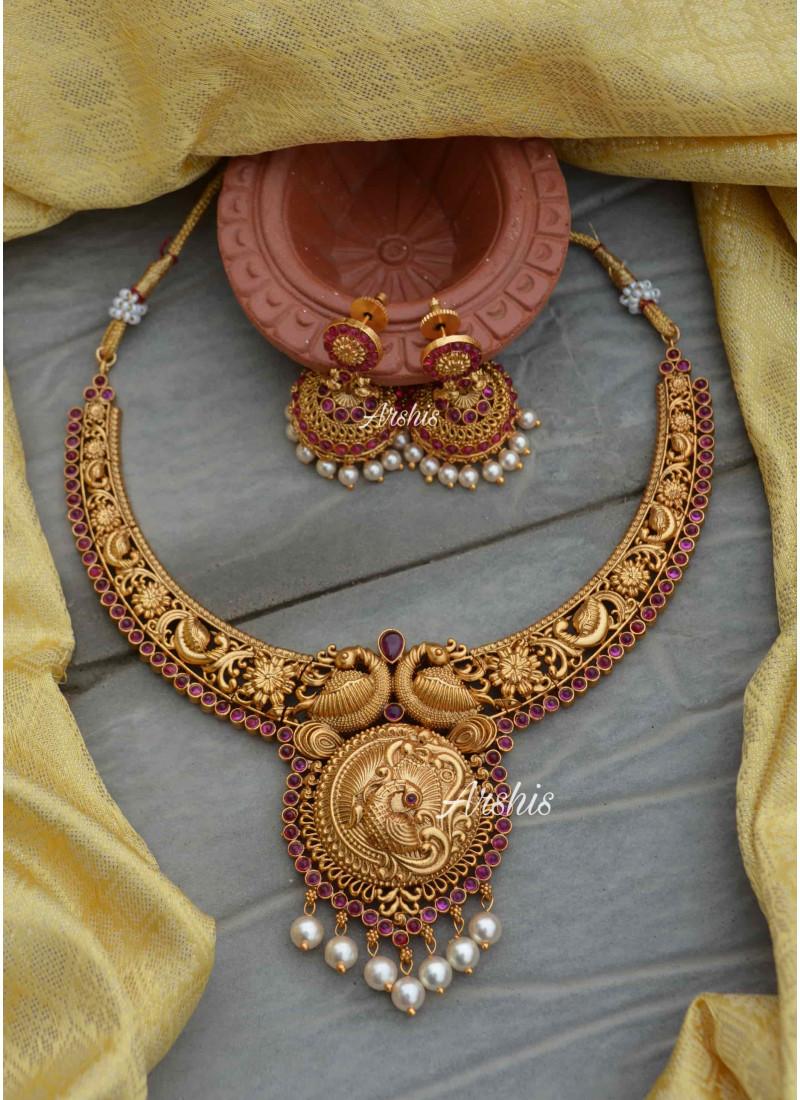 Peacock Design Matte Finish Bridal Necklace