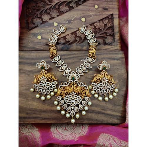 AD Stone Mango Necklace Set