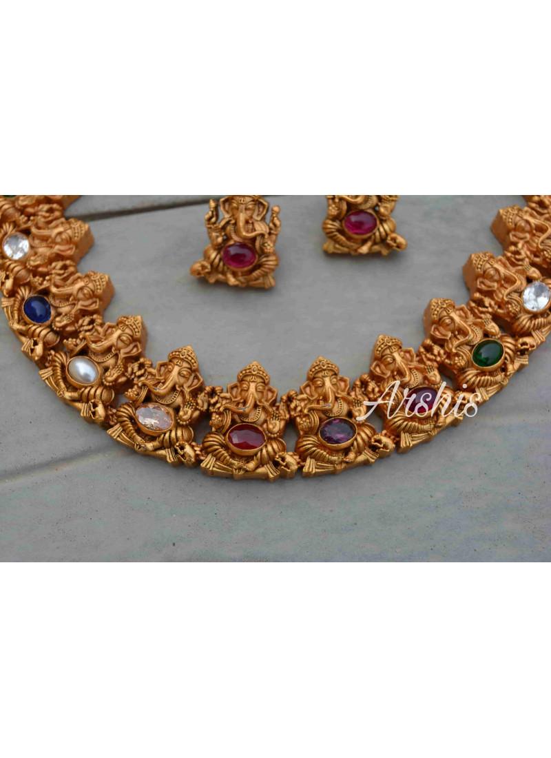 Navarathna Stone Ganesha Necklace