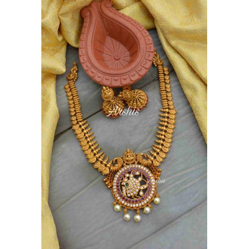 Peacock Design Lakshmi Coin Necklace