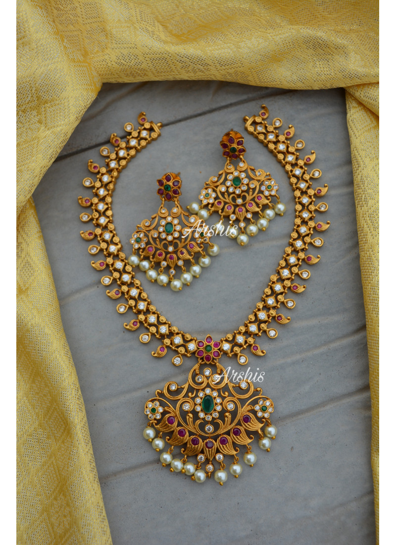 Beautiful Matt AD Necklace with Earrings