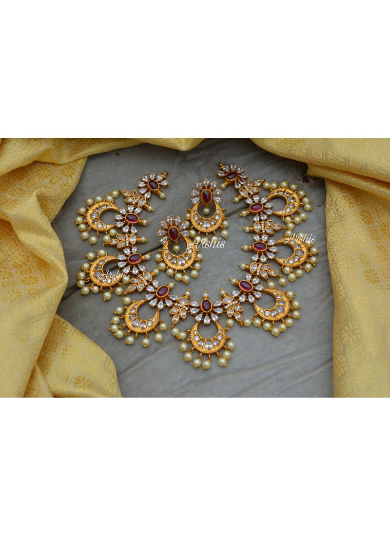 Latest Design Matte Chandbali Necklace