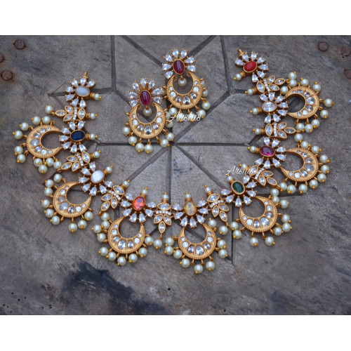 Designer Chandbali Necklace with Earrings