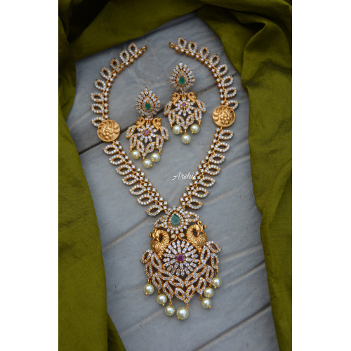 Gorgeous AD Stone Peacock Necklace