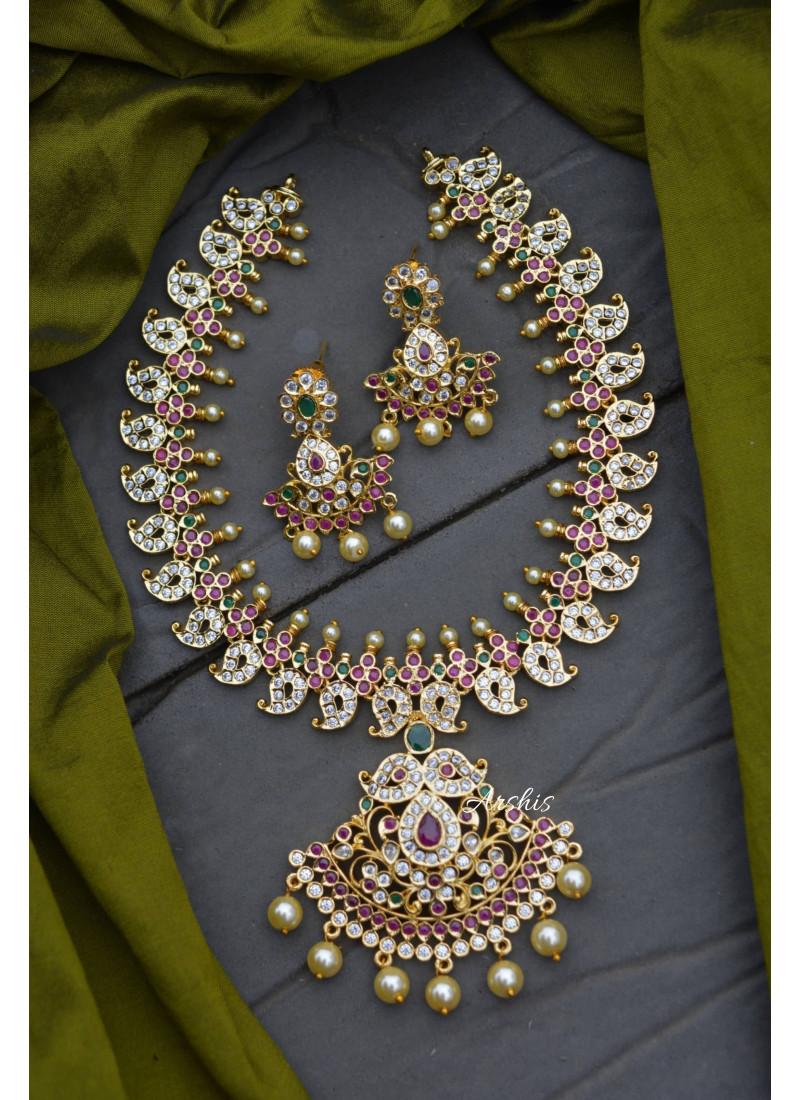 Elegant Imitation AD Mango Necklace