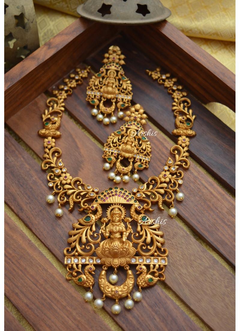 Matte Finish Temple Lakshmi Necklace