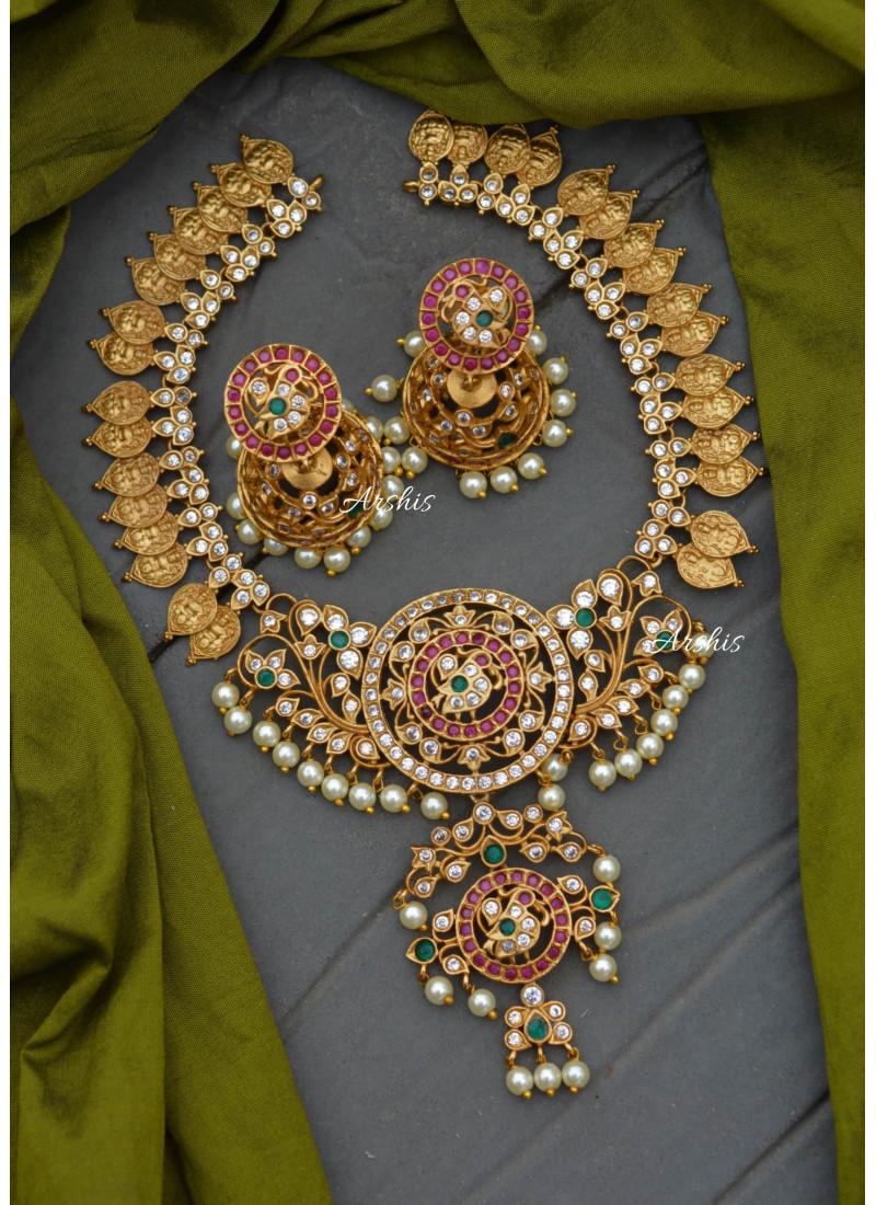 Lakshmi Coin Peacock Design AD Necklace