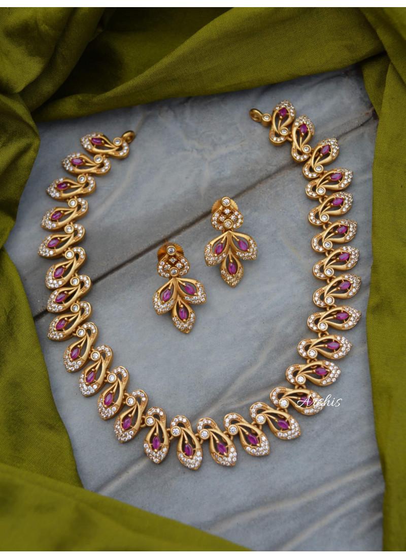 Diamond Alike AD Peacock Design Necklace