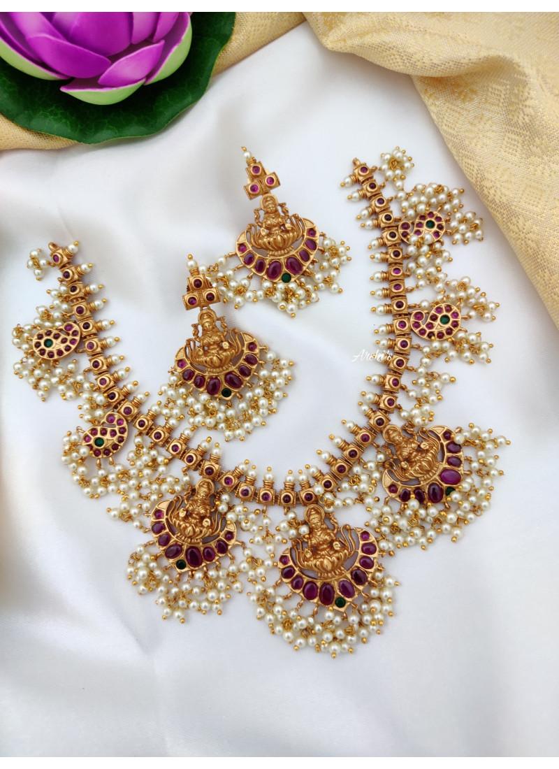 Ruby Stone Lakshmi Guttapusalu Necklace
