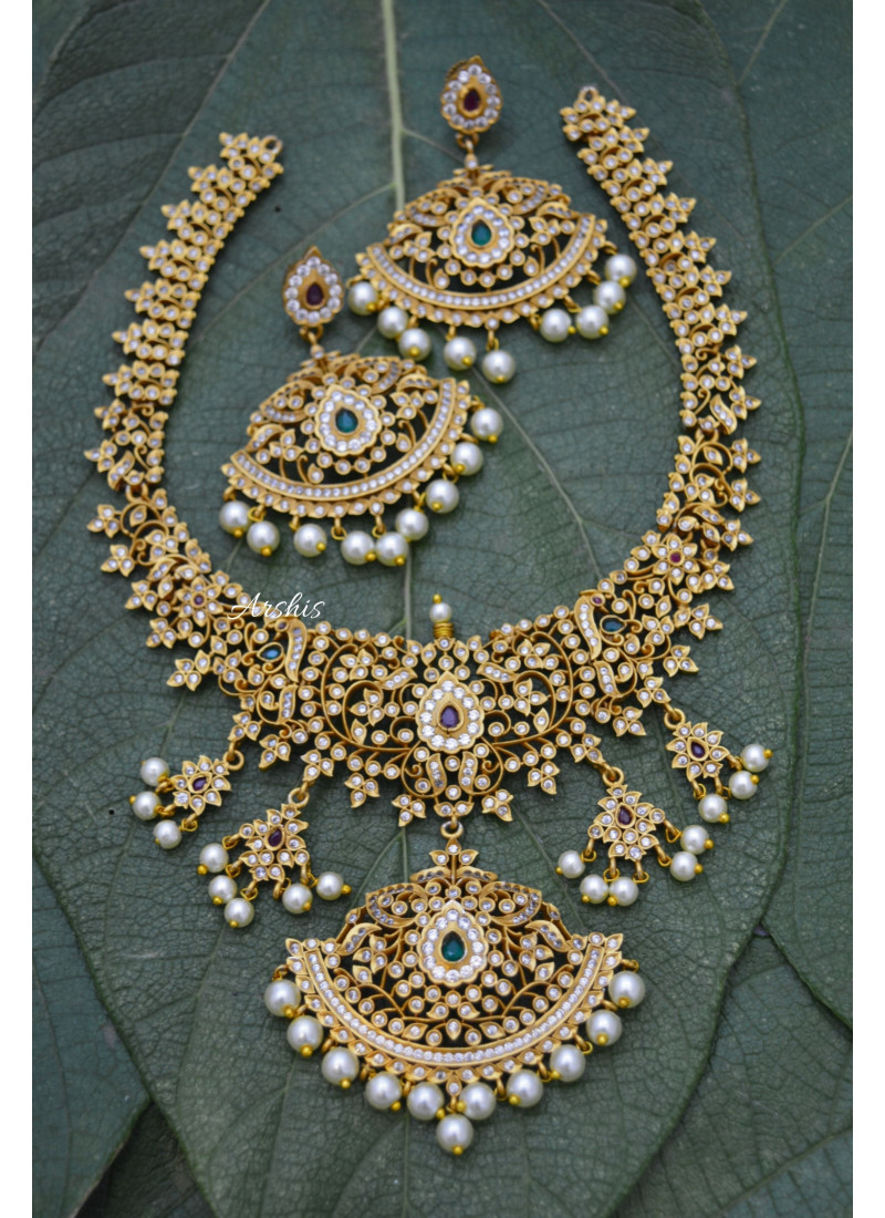 AD Matte Necklace with Pearl Hangings