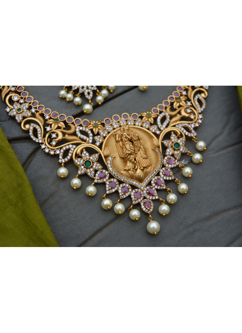 Traditional Radha Krishna AD Stone Necklace