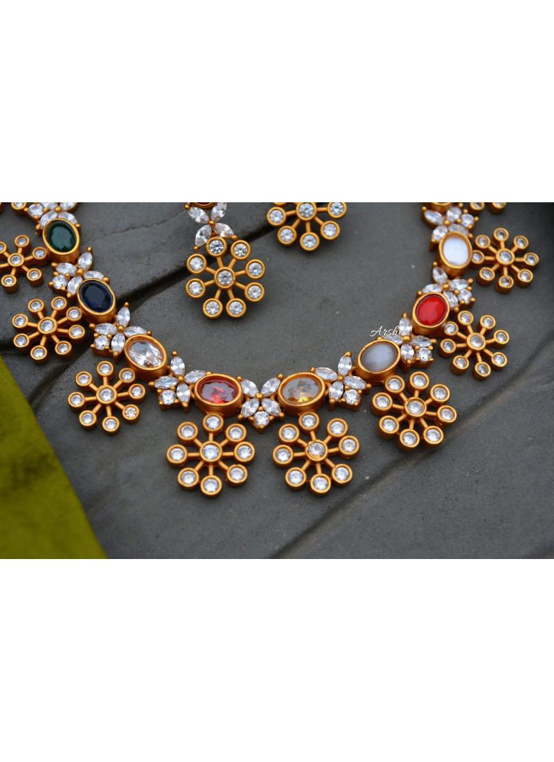 Elegant AD Navarathna Stone Necklace