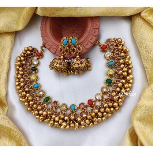 Latest Designer Ghungroo Navarathna Kemp Necklace