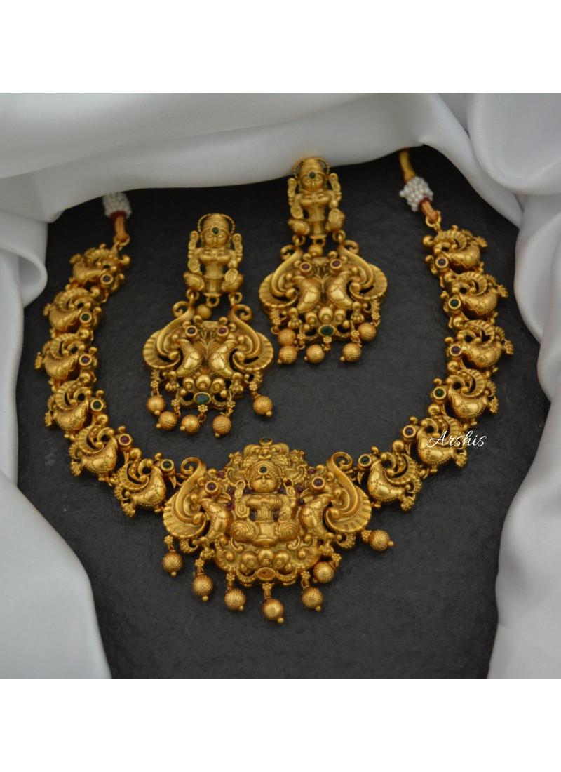 Grand Antique Finish Temple Lakshmi Necklace