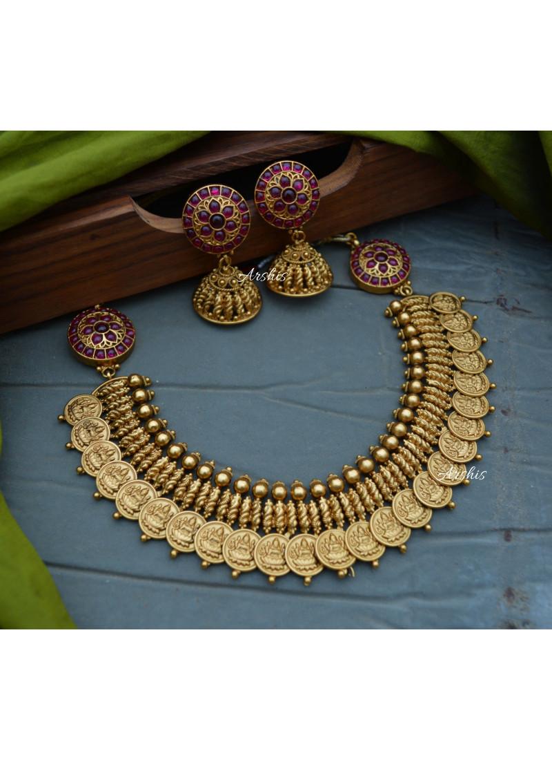 Elegant Antique Matte Finish Lakshmi Coin Necklace