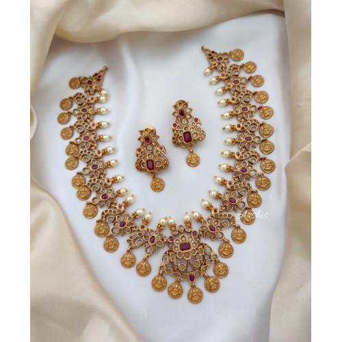 Beautiful Uncut Matte Lakshmi Coin Necklace