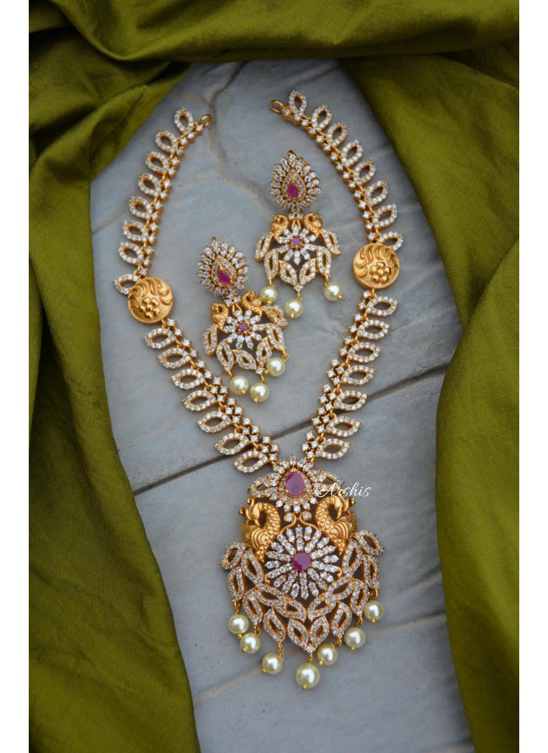 Sparkling Diamond Alike AD Peacock Necklace