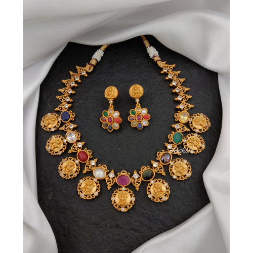 Beautiful Matte Temple Navarathna Necklace
