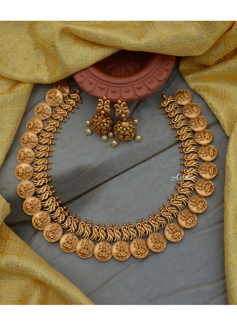 Imitation Matte Temple Lakshmi Necklace