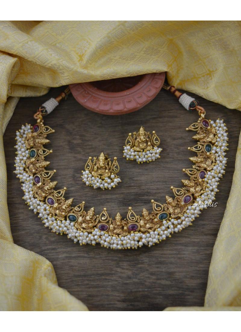Sparkling Real Kemp Ganesha Pearl Necklace
