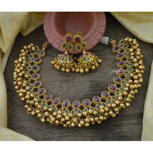 Real Kemp and Green Antique Ghungroo Necklace
