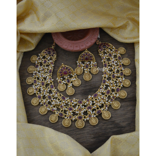 Real Kemp with Pearl Lakshmi Coin Necklace