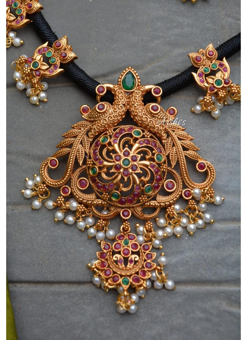 Beautiful Black Thread Matte Peacock Pendant Necklace