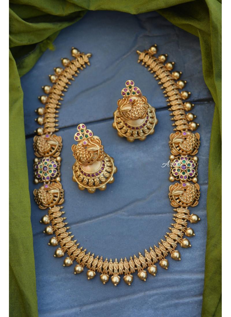 Matte Grand Peacock Necklace
