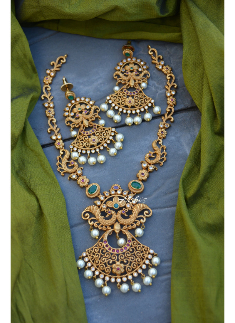 Imitation Matte Double Peacock Necklace