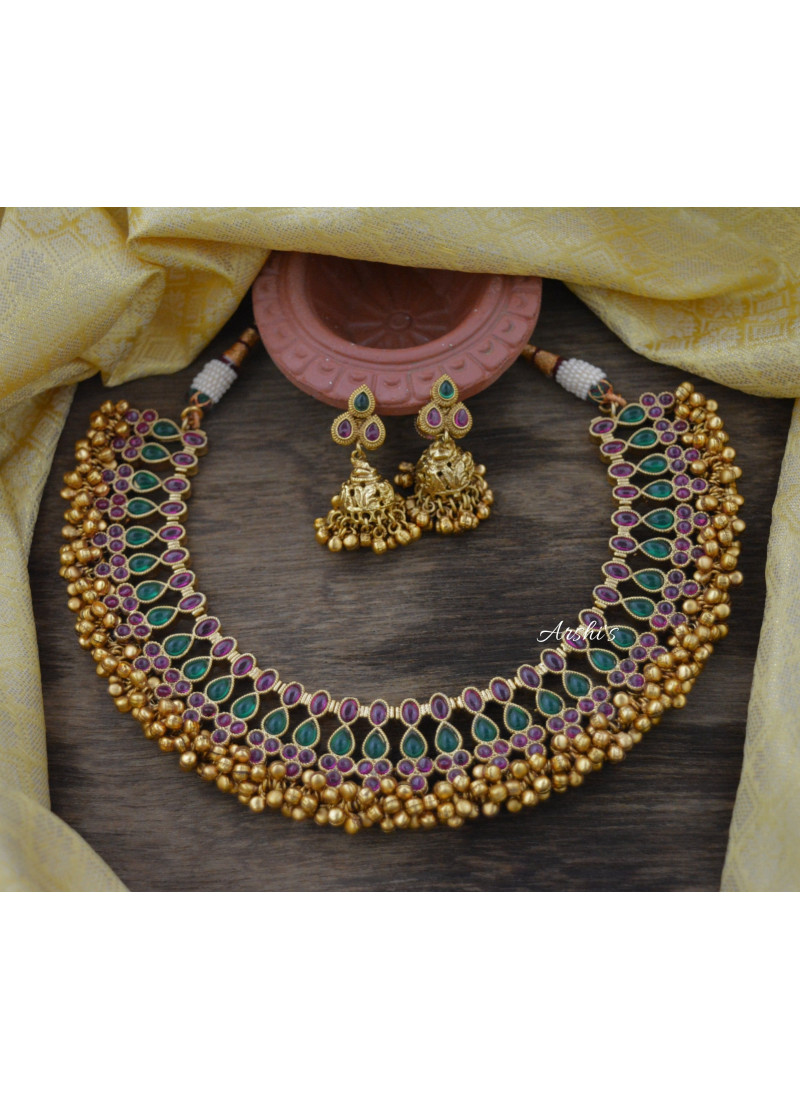Beautiful Real Kemp Antique Gold Beads Necklace