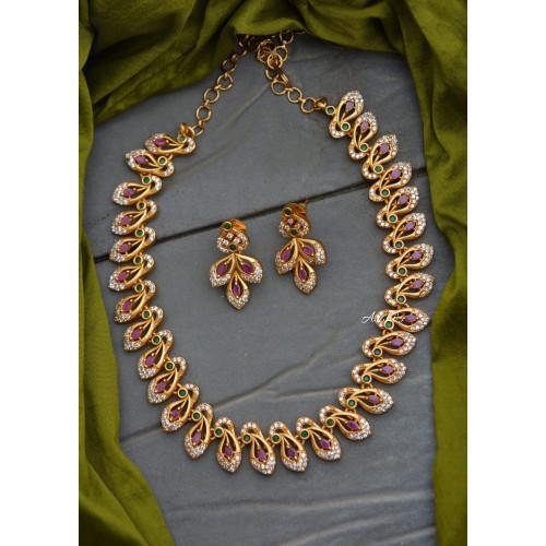 Diamond alike AD Stone Necklace