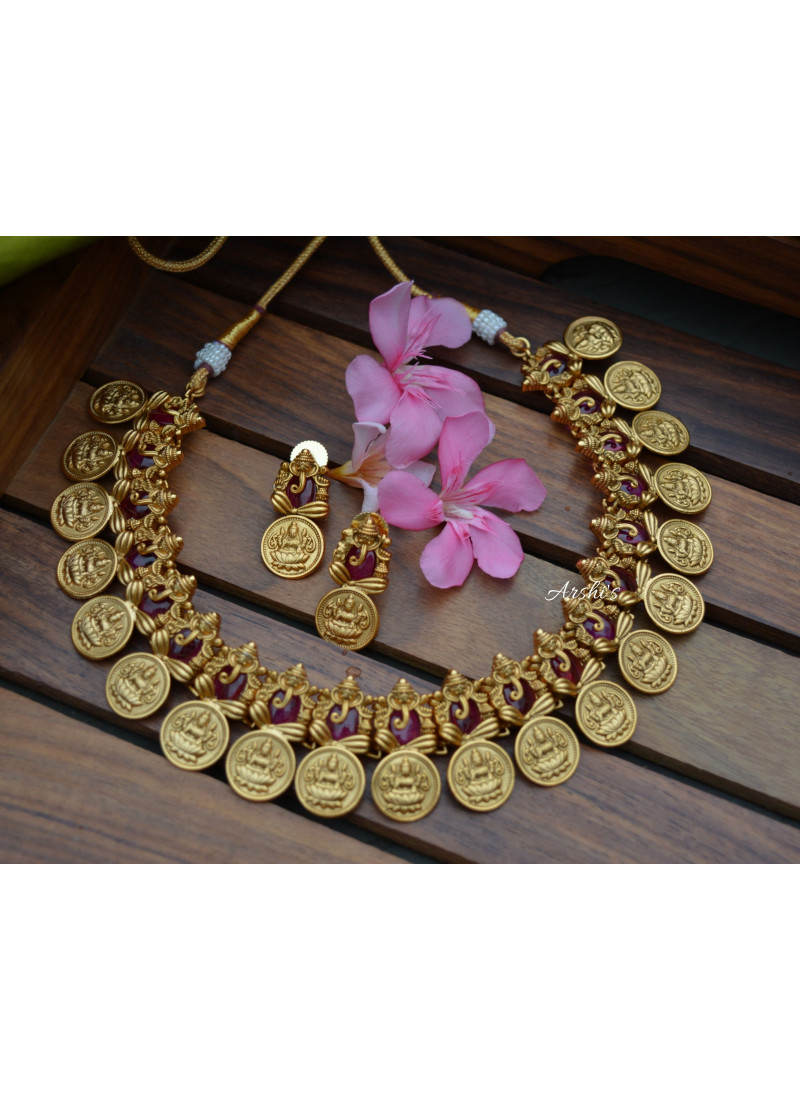 Traditional Red Ruby Ganesha Coin Necklace