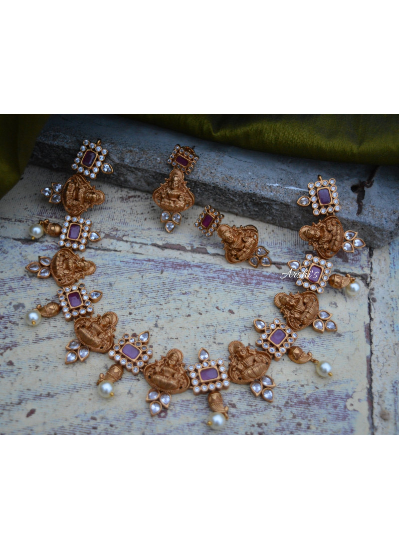 Dazzling Ruby and AD Stone Lakshmi Nagas Necklace