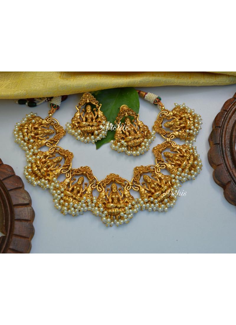Arshi's Temple Lakshmi Pearl Necklace