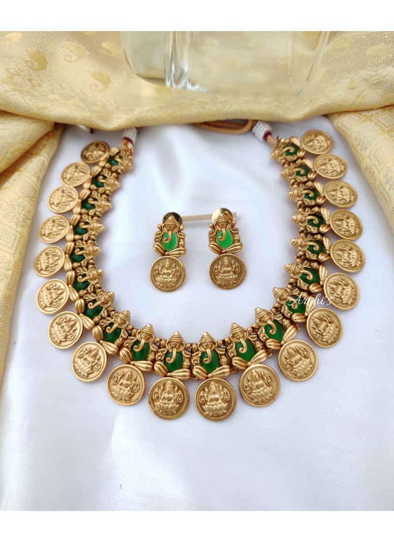 Traditional Ganesha Temple Coin Necklace